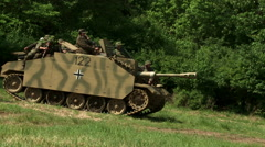 German Stug Tank and Troops WW2 Stock Footage