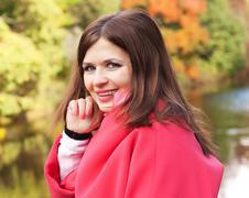 Fashion  happy woman in autumn season Stock Photos