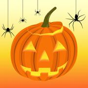 halloween pumpkin and black spiders on the web - stock illustration