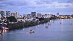 Brisbane river sunset to night TL 4K Stock Footage