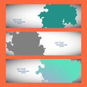 Vector set of three colored abstract spots - stock illustration