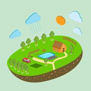 Stock Illustration of Vector piece of land and sky with objects