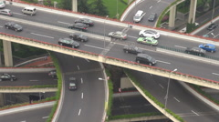 Aerial view traffic car street Shanghai interchange busy freeway famous highway Stock Footage