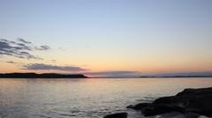 Lake sunset by water in Georgian Bay Stock Footage