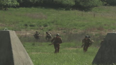 American troops advance on the dragons teeth WW2 Stock Footage