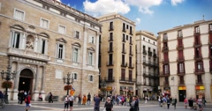 4K Placa de Sant Jaume in Barcelona Stock Footage