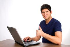 successful internet transaction - stock photo