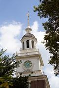 Independence hall clock tower Stock Photos