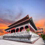 Beautiful chinese temple against dusky sky use for china ,east asia architect Stock Photos