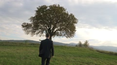 Handsome businessman close to the nature - stock footage