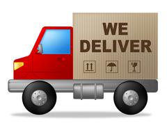 We deliver indicating shipping transporting and trucking Stock Illustration