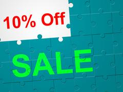 Stock Illustration of ten percent off showing cheap promotional and save