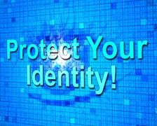 protect your identity showing personality protected and unauthorized - stock illustration