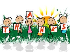 Stock Illustration of kids thanks meaning grateful you and thankfulness