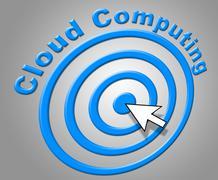 cloud computing indicating network server and cloud-computing - stock illustration
