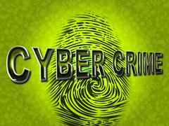 Stock Illustration of cyber crime representing threat vulnerable and fingerprint