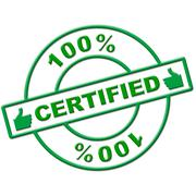 hundred percent certified meaning authenticate verify and endorse - stock illustration