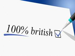 Hundred percent british meaning great britain and england Stock Illustration
