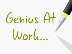 Genius at work meaning intellectual capacity and comprehension Stock Illustration