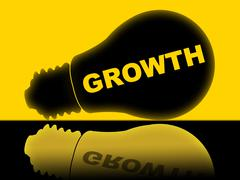 Growth lightbulb meaning rise lamp and expansion Stock Illustration
