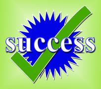 success tick indicating prevail correct and confirmed - stock illustration