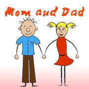 Mom and dad representing child motherhood and parents Stock Illustration