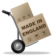 Stock Illustration of made in england indicating united kingdom and packaging