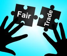 Fair trade showing fairtrade ethical and shop Stock Illustration