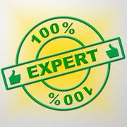 Stock Illustration of hundred percent expert representing trained ability and training