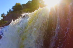 Beautiful waterfall landscape, sunshine, wild nature, slow-mo, click for HD - stock footage
