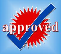 Approved tick showing confirm passed and ok Stock Illustration