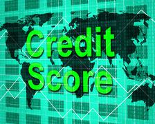 Stock Illustration of credit score showing debit card and paying