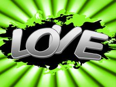 love sign showing devotion boyfriend and message - stock illustration
