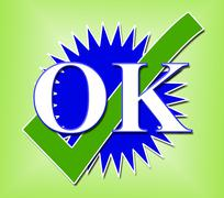 Ok tick indicating all right and approved Stock Illustration