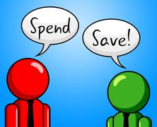 Spend save representing saved bought and investment Stock Illustration