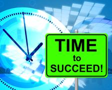 Time to succeed representing at present and triumphant Stock Illustration