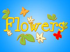 Flowers sign indicating message bloom and bouquet Stock Illustration