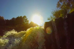 Turbulent waterfall, low angle. Submerging, accident, slowmotion, click for HD - stock footage