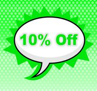 Ten percent off showing retail sales and promotional Stock Illustration