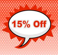 Stock Illustration of fifteen percent off indicating promotional advertisement and merchandise