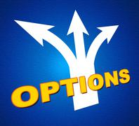 Options arrows indicating direction path and choose Stock Illustration