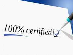 Hundred percent certified meaning warranted ratified and ratify Stock Illustration