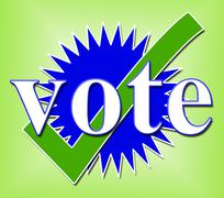 Vote tick indicating all right and voting Stock Illustration