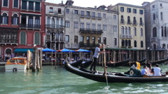 Stock Video Footage Water Traffic in Venice gondolas Stock Footage