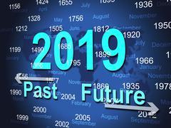 Year twenty nineteen indicating schedule new-year and celebrate Stock Illustration
