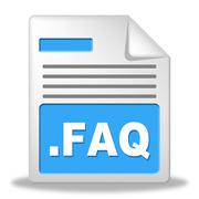 Faq file meaning frequently asked questions and folders Stock Illustration