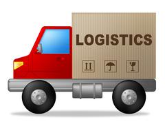 Logistics truck representing moving organize and transporting Stock Illustration