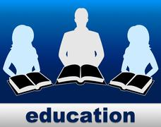 education books showing educate schooling and tutoring - stock illustration