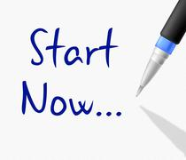 Start now representing don't wait and go Stock Illustration