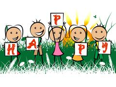 happy kids meaning youngster positive and fun - stock illustration